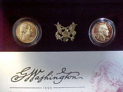 1999 US Mint George Washington Bicentennial Commem Gold Coin Set - $5 PROOF & BU