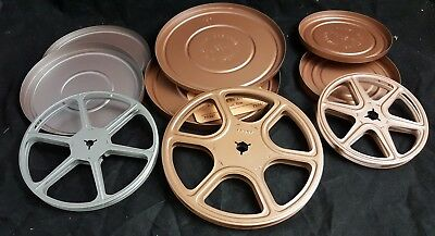"""Vintage 8 mm movie film reels empty lot 7"""" 6"""" 5"""" All Metal with canisters"""