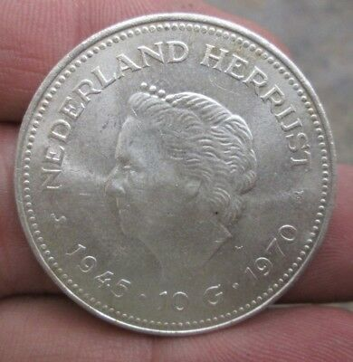 1970 The Netherlands 10 Gulden Silver Coin No Reserve