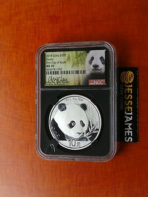 Presale: 2018 China Silver Panda Ngc Ms70 First Day Issue Cheng Chao Signed Fdi