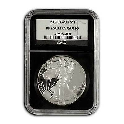1987 S Proof American Silver Eagle NGC PF70 UC Silver Dollar Coin Black Core