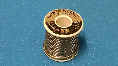 """HIRSCH METALS INDUSTRIAL 50/50 TIN/LEAD SOLDER 1/8""""dia. 25lb. ROLL STAINED GLASS"""