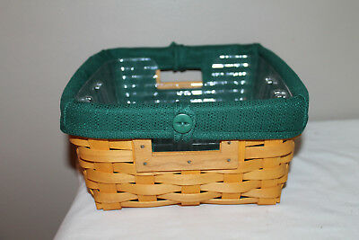 2001 Longaberger Small Storage Solutions Basket, New Ivy Fabric,  Protector