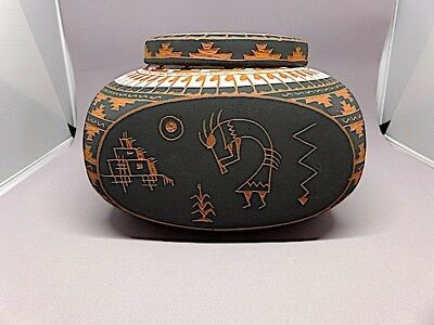 Navaho Hand Painted and Carved Lided Square Jar signed by Artist