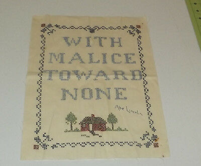 Vintage Cross Stitch Embroidery Sampler With Malice Towards None