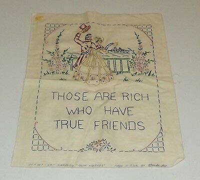Vintage Cross Stitch Embroidery Sampler Yield Not to Temptation