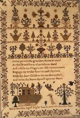 Gorgeous 19thc Antique Fine Quality House Spot Motif Sampler Mary Stanley 1826