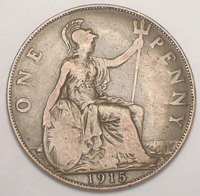1915 UK Great Britain British One 1 Penny King George V Coin VF