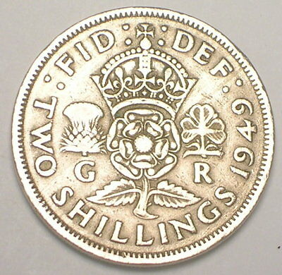 1949 UK Great Britain British Two 2 Shillings Crowned Rose Coin VF