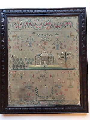 Magnificent 19th c Antique  House Spot Motif Sampler Mary Bell, 11, 1817