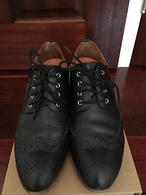 BARED Black Leather Brogues 'parakeet' Size 38