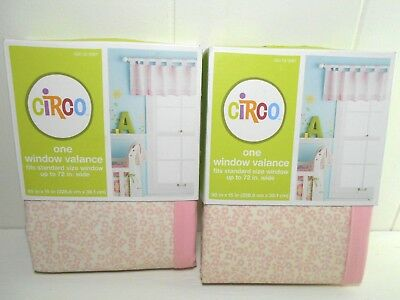 "2 Circo Girls Petit Fleur Pink Floral Window Valance Tabs Standard up to 72"" New"