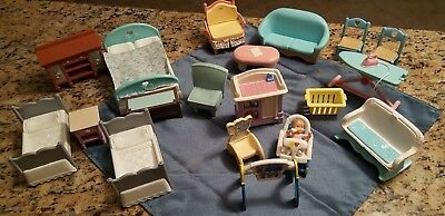 Fisher-Price LOT DOLLHOUSE FURNITURE, Nursery, Baby Doll figure,  Loving Family