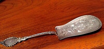 Beautifully Ornate American Coin Silver Cake or Pie Server: Script Initials SC
