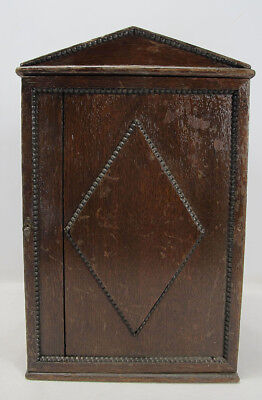 Antique Primitive Tramp Folk Art Wooden Wall Cupboard Cabinet with Drawer NR yqz