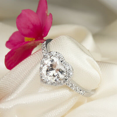 2.0 CT VVS1 Engagement Promise RING Heart Halo White Gold Plated SIZE 5-9 Paula