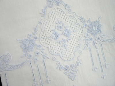 Antique Vintage Blue on White Linen Hand Embroidered Appenzell Lace Guest Towel