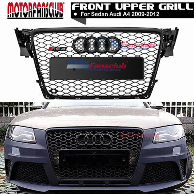 For Audi A4 S4 B8 RS Style 2009-2012 Honeycomb Type Mesh ABS Front Black Grill