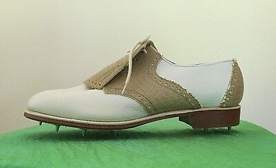 HITCHIKERS 8.5 Women's RARE 1970s VINTAGE GOLF SHOES WHITE TAN USA BRAND as new