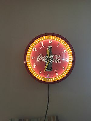 Coca Cola Neon Clock Spinner Soda Sign Advertising