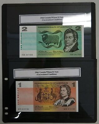 1966 Commonwealth of Australia $1 & $2 Coombs/Wilson banknotes AFH/FEB UNC