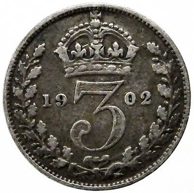 1902 Great Britain UK Threepence Coin 3 Pence Silver Actual Photos Lot #A145