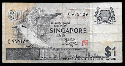 Affordable World Banknotes - Singapore 1 Dollar @ VG  Cond.
