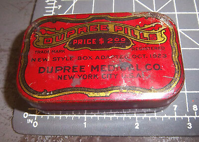 Vintage Dupree Pills Medical tin, 1923 New York City. Great Graphics & colors