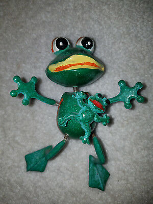 """magnet toy silly green frog toad with baby wiggle arms legs 5"""" frogger kermit co"""