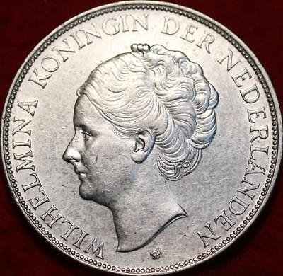 1939 Netherlands 2 1/2 Gulden Silver Foreign Coin Free S/H