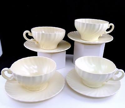 "Franciscan Coronado 4 Off White Matte Finish 2 1/8"" Cup & Saucer Sets 1936-1954"