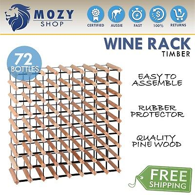 72 Bottles Timber Wine Rack Wooden Shelf Cellar Storage Vintry Stand Cabinet NEW