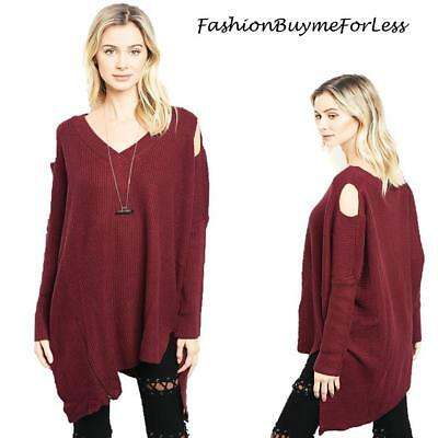 Haute BOHO Wine Goth Open Shoulder Oversized CASHMERE Tunic Sweater Top S M  L XL 47205b342