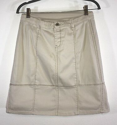 Lilac Maternity Clothes Tan Cotton Denim Skirt Small Ruffle Hem 6-8