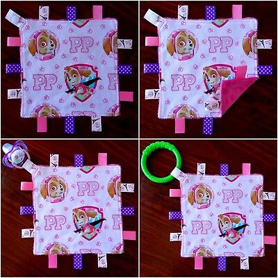 Paw Patrol Mini Size TaGgie Taggy Tag Blanket Toy comforter Dummy clip Holder