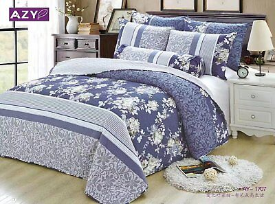 100% Cotton Reversible  Quilted Bedspread/Coverlet Queen Size  3pcs Set 1707