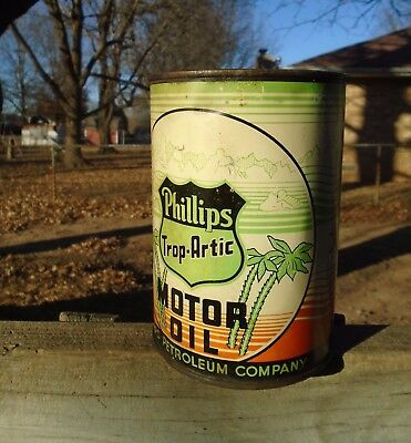 vintage Phillips Trop-Artic PALM TREES, One Quart Oil Can, Tin, 66