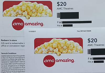 Total $60 (4 of $15) AMC Theatres Gift Cards - FREE same day shipping
