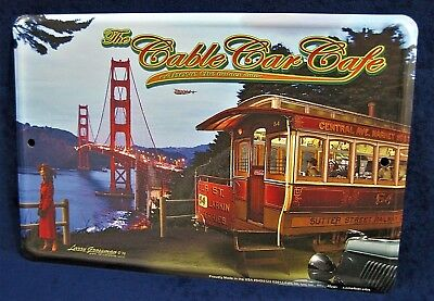 CABLE CAR CAFE - *US MADE* Full Color Sign - Man Cave Garage Bar Pub Wall Decor