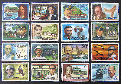 1977-78 Christmas Island Stamps - Famous Visitors Definitives - Set of 16 MNH