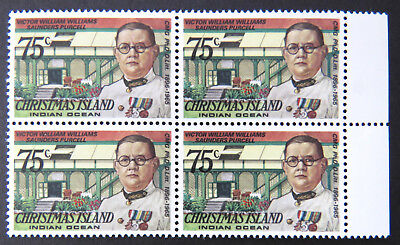 1978 Christmas Island Stamps - Famous Visitors Definitives - Block 4x75c-Tab MNH