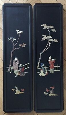 Antique Chinese A Pair Of Soapstone / Hardstone Inlaid Wood Panels With Figure.