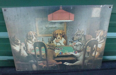 Dogs Playing Cards Tin Metal Sign poker game table bar man cave poster