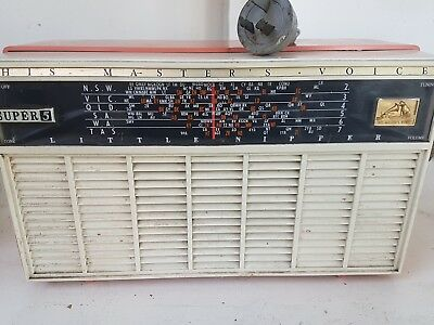 Vintage valve radio His Masters Voice Super 5 .    Good working condition