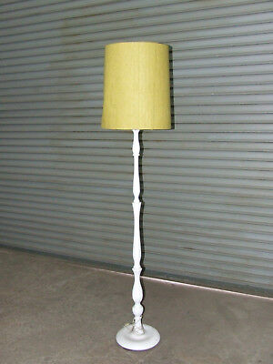 Vintage Shabby Chic Solid Timber Floor Lamp, painted white - needs new shade