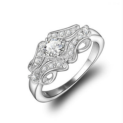 925Silver Plated Fashion Nice New Crystal Ring Gift Jewelry Wedding Size 6 7 8 9