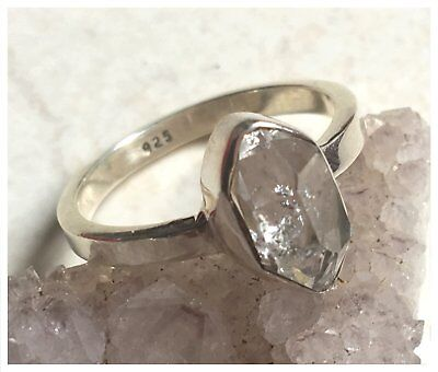 925 Sterling Silver HERKIMER DIAMOND GEMSTONE RING SIZE N 1/2  - US 7
