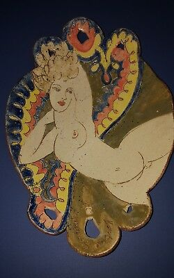 Rare Barbara Swarbrick Handcrafted Pottery Platter Dish Reclining Nude Ex Cond
