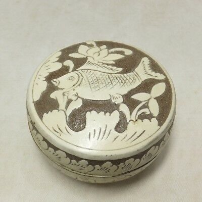 D899: Korean Joseon Dynasty style pottery incense case of Buncheong style