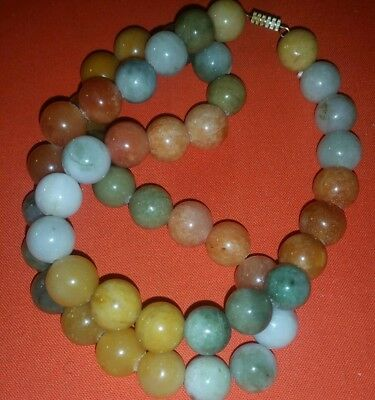 Vintage Chinese Multi - Colored Jadeite Jade 9.5mm Beaded Necklace